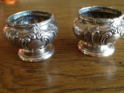 2   Antique Repousse Sterling Silver Master Salt Cellars Cannot make out Maker M
