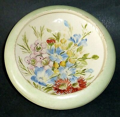 WEMBLEY WARE Hand painted NATIVE wildflower dish AUSTRALIAN POTTERY INITIALS EW