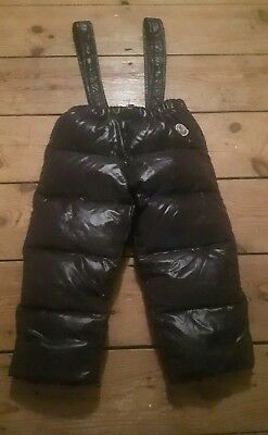 genuine MONCLER ski snow suit salopettes trousers only down feathers 18-24 euc