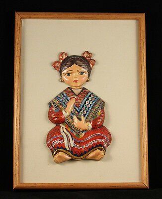 Rare Vintg Wall Hanging Ceramic Mexican Girl from National Art Museum in Mexico
