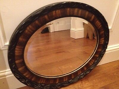 Antique VICTORIAN Art Nouveau Organic OVAL ROSEWOOD BEVELLED EDGE MIRROR.