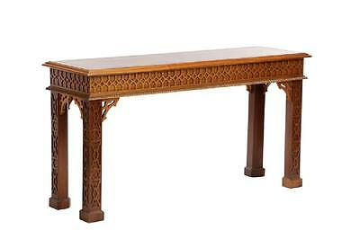 """Chinese Chippendale Style Walnut Console Table Foyer W 57"""" x D 18"""" Fretwork"""