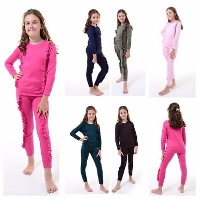Girls Kids Tracksuit Double Frill Detail Top & Bottom Set Loungewear Lounge Suit