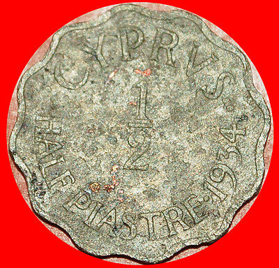 § Scalloped: Cyprus ★ 1/2 Piastre 1934! Low Start★No Reserve!