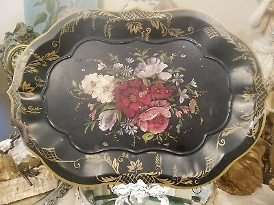 Beautiful~ Antique Vintage Tole Painted Floral Chippendale Style Metal Tray