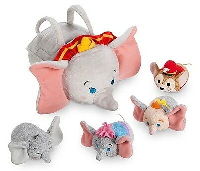 "Disney Tsum 9.5/3.5"" Dumbo Bag Set 4 Mrs Jumbo, Baby, Clown, Timothy Mouse Nwt"