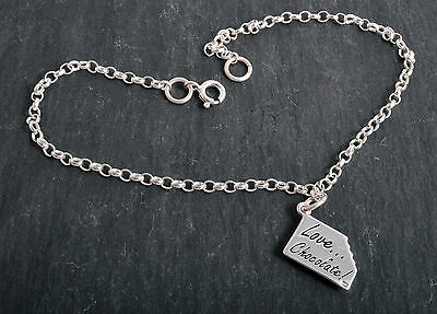 Sterling Silver Love Chocolate Charm Ankle Chain Bracelet Anklet 925