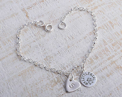 Sterling Silver My Little Girl & Personalised Heart Ankle Chain Bracelet Anklet