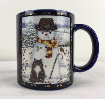 MINT Vtg Otagiri Coffee Mug Black & White Cat w Snowman Gold Leaves Cobalt JAPAN