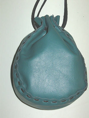 Lgb-19 Teal Green Leather Drawstring Bag Or Purse Free Shipping Within Usa