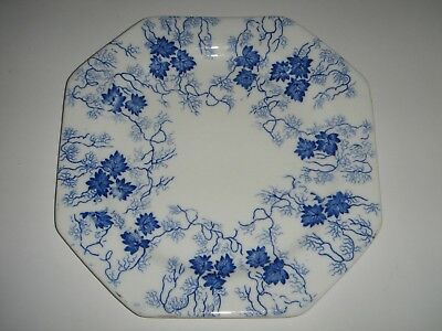 Royal Stafford China England 8 Sided Square Side Plate Vintage Blue Ivy on White