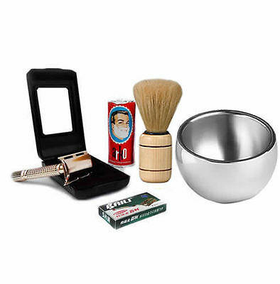Baili ® Shaving Set Gold Double Edge Safety Razor -Natural Shaving Kit For Men's