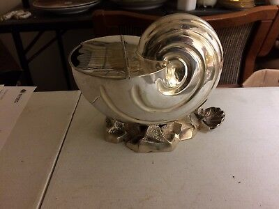Antique Victorian Silver Plate Nautilus Conch Shell Shaped Spoon Warmer