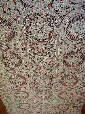 Vtg Banquet Point Venise Hand Made Linen Needle Lace Tablecloth 12 Napkins 120""
