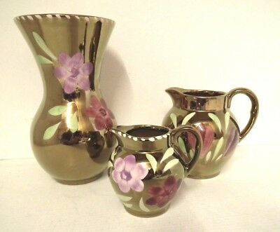 Vintage Oldcourt Ware Hand Painted Copper Lustre Collection. Vase And Two Jugs.