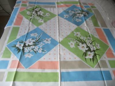 Unused Early 1960S Vintage Cotton Table Cloth Large Flowers Pastel Blocks Spots