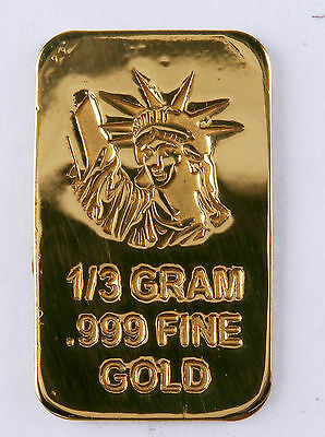 1/3 GRAM GOLD BAR OF 24K PURE .999 FINE GOLD STRATEGIC BULLION L31a