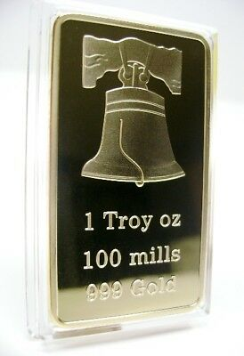 1- GOLD 100mills 1 troy oz Ounce LIBERTY BELL BAR .999 Fine GOLD Bullion