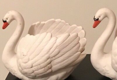 Vintage Goebel White Porcelain Swans Planters Made in West Germany-ZV103/II PAIR