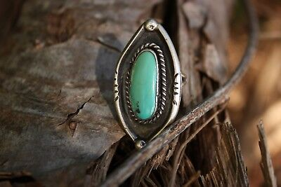 Vintage Light Jade Colored Turquoise Sterling Silver Ring Size 6
