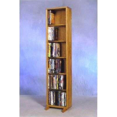 The Wood Shed Solid Oak 6 Row Dowel DVD Media Tower - 12 in. Wide