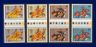 1974 SG958-961 4½p-10p Medieval Warriors Traffic Light Gutter Pairs MNH abbd