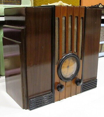 SUPER RARE 1930s Vintage Art Deco AWA EMPIRE STATE Timber Radio W/Bakelite Knobs