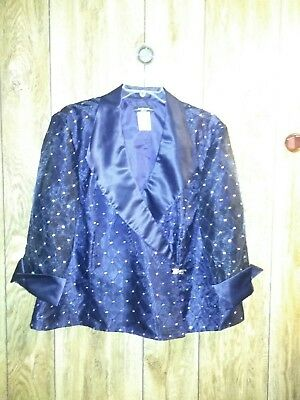 R&M Richards Size 24 NAVY Blue Sheer GLITTER Mother of the Bride Duster Jacket