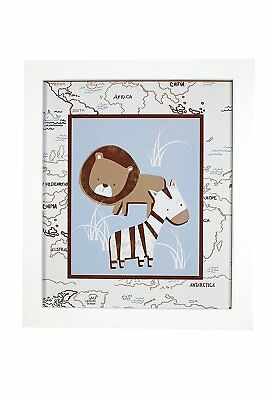 Sadie & Scout Framed Art - Safari - Lion & Zebra / World Map Background
