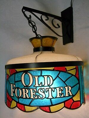 Vintage Old Forester Bourbon Swag Stained Glass Plastic Advertising Lamp Sign