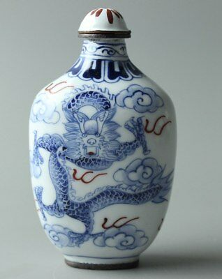 Chinese Collection Exquisite Hand Painted Cloisonne Dragon snuff bottle