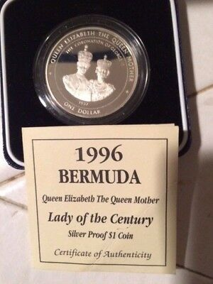Proof UK Bermuda Queen Sterling Silver Crown Coin w/box & COA like 1 oz Round