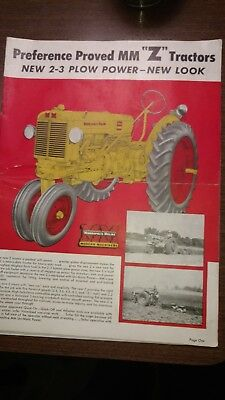 Vintage Minneapolis Moline Advertising Booklet Brochure The New Z. Tractor