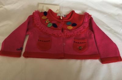 CATIMINI* BABY GIRLS 3mths (RED/PINK CROPPED CARDIGAN - NWT