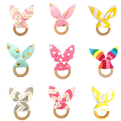 Cute Baby Safety Handmade Wooden Natural Teeth Ring Teether Bunny Sensory Toy EC