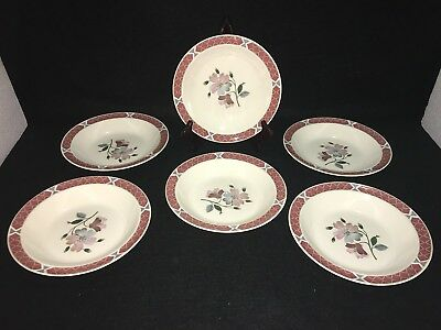 Wedgwood Of Etruria & Barlaston ALBANY RIMMED SOUP CEREAL BOWLS Lot x 6 England