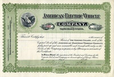 1890s American Electric Vehicle Co. Stock Certificate - 100 years before Tesla !