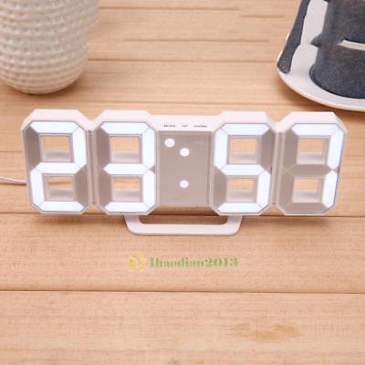Large Modern Digital Snooze LED Wall Desk Alarm Clock Watches 24/12-Hour Display