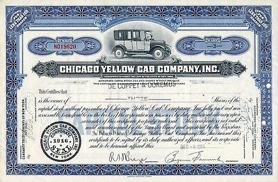 Chicago Yellow Cab Company Stock Certificate with vintage taxi vignette