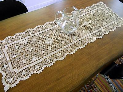 "Antique Ecru Filet Lace Table Runner or Dresser Scarf 51"" x 17"" Vintage"