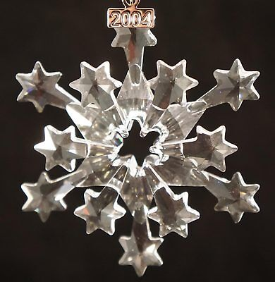 2004 SWAROVSKI Crystal Annual Christmas Snowflake / Star Ornament with box & COA