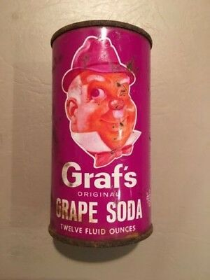 Vintage Graf's Grape 12oz Steel Flat Top Soda Can (Bottom Opened)