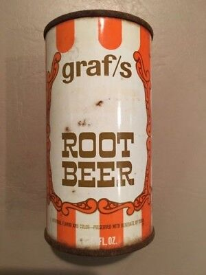 Vintage Graf's Root Beer 12oz Steel Flat Top Soda Can (Top Opened)