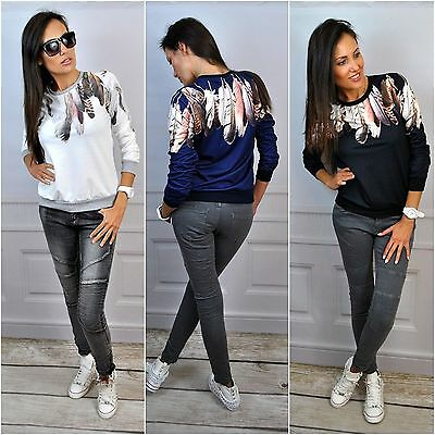 Women Long Sleeve Sweatshirt Pullover Jumper Tops Blouse Feather Casual T-Shirts