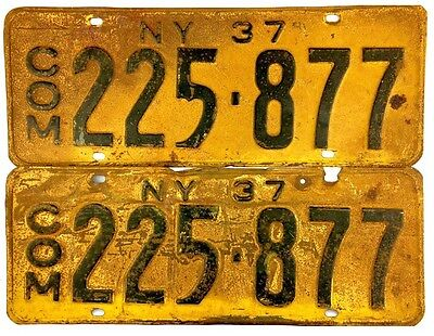 1937 New York COMMERCIAL License Plate PAIR #225-877 No Reserve