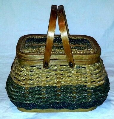 WOVEN ROPE & BENTWOOD ELEMENTS ~ SEWING BASKET Filled ~ BUTTONS, THREAD & MORE