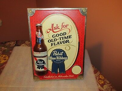 PABST BLUE RIBBON beer 1960's 3-D BOTTLE SIGN GOOD OLD TIME FLAVOR (VERY NICE)