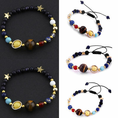 Universe Solar System Galaxy Eight Planets Stone Beads Unisex Braided Bracelet