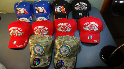 10 Piece Wholesale Lot Military & Fire Officially Licensed Baseball Style Caps.