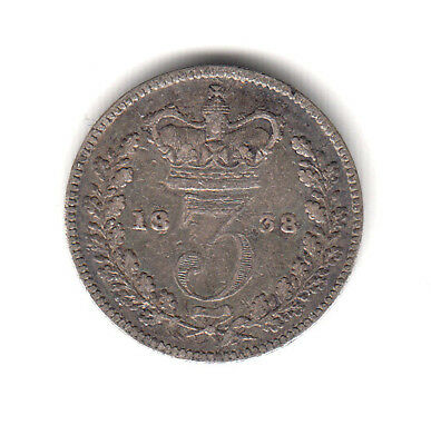 Great Britain  silver 3 Pence 1838 Queen Victoria